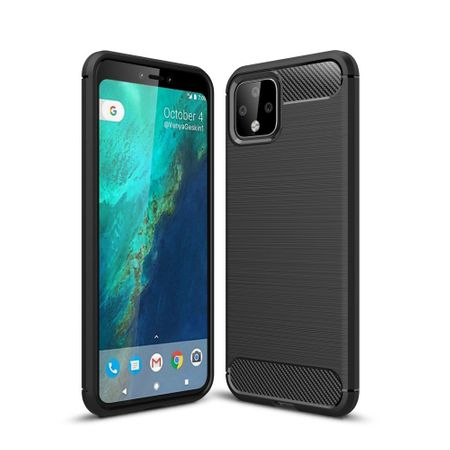 Google Pixel 4 TPU Case Carbon Fiber Optik Brushed Schutz Hülle Schwarz