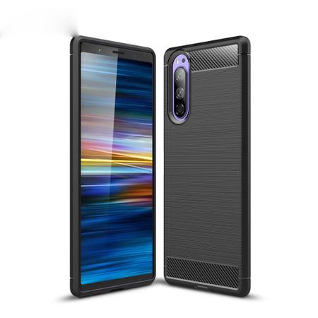 Sony Xperia 5 TPU Case Carbon Fiber Optik Brushed Schutz Hülle Schwarz