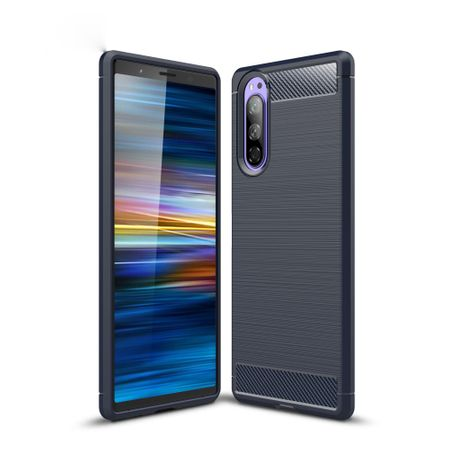 Sony Xperia 5 TPU Case Carbon Fiber Optik Brushed Schutz Hülle Blau