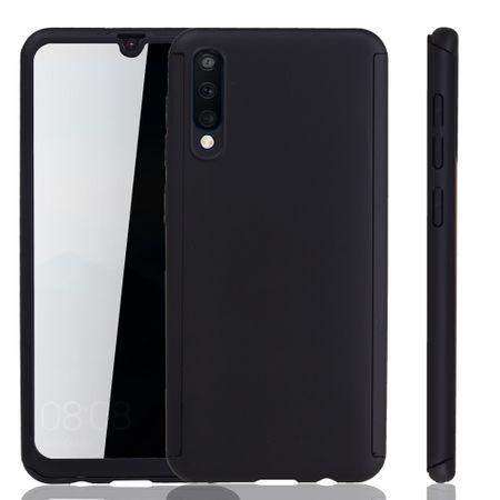Samsung Galaxy A50 Hülle Case Handy Cover Schutz Tasche Bumper Fullcover Panzer Schutz Glas Schwarz