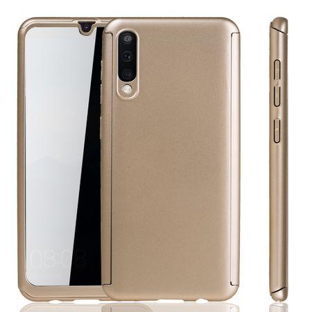 Samsung Galaxy A50 Hülle Case Handy Cover Schutz Tasche Bumper Fullcover Panzer Schutz Glas Gold