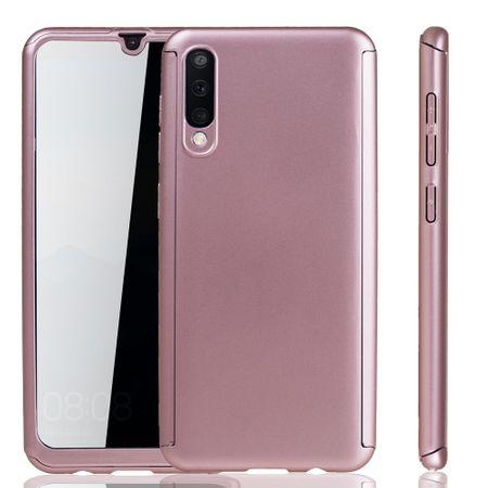 Samsung Galaxy A50 Hülle Case Handy Cover Schutz Tasche Bumper Fullcover Panzer Schutz Glas Rose