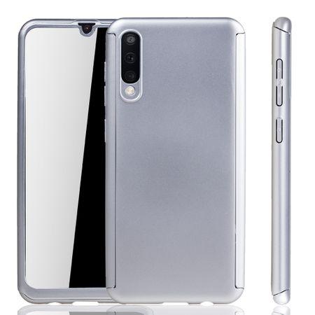 Samsung Galaxy A50 Hülle Case Handy Cover Schutz Tasche Bumper Fullcover Panzer Schutz Glas Silber