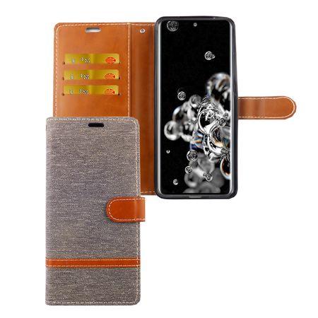 Samsung Galaxy S20 Ultra Handy-Hülle Schutz-Tasche Case Cover Kartenfach Etui Wallet Grau