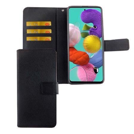 Samsung Galaxy A51 Tasche Handy-Hülle Schutz-Cover Flip-Case mit Kartenfach Schwarz