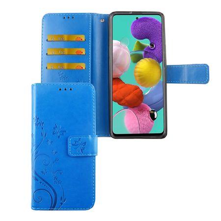 Samsung Galaxy A51 Handy-Hülle Schutz-Tasche Cover Flip-Case Kartenfach Blau