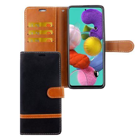 Samsung Galaxy A71 Handy-Hülle Schutz-Tasche Case Cover Kartenfach Etuis Schwarz