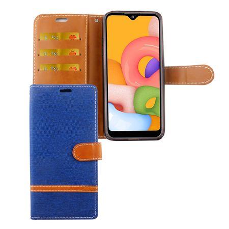 Samsung Galaxy A01 Handy-Hülle Schutz-Tasche Case Cover Kartenfach Etui Wallet Blau