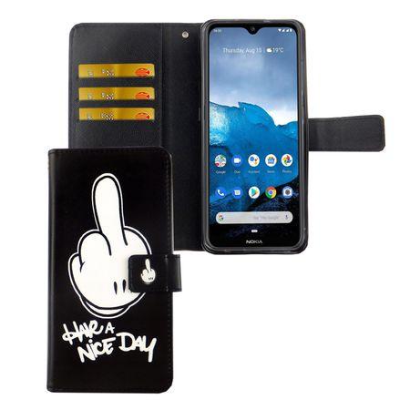 Nokia 6.2 Tasche Handy-Hülle Schutz-Cover Flip-Case mit Kartenfach Have a nice day