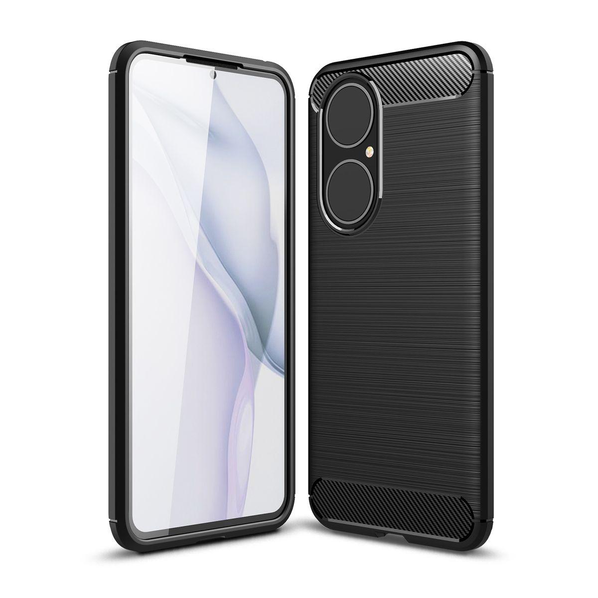 Huawei P50 TPU Case Carbon Fiber Optik Brushed Schutz Hülle Schwarz