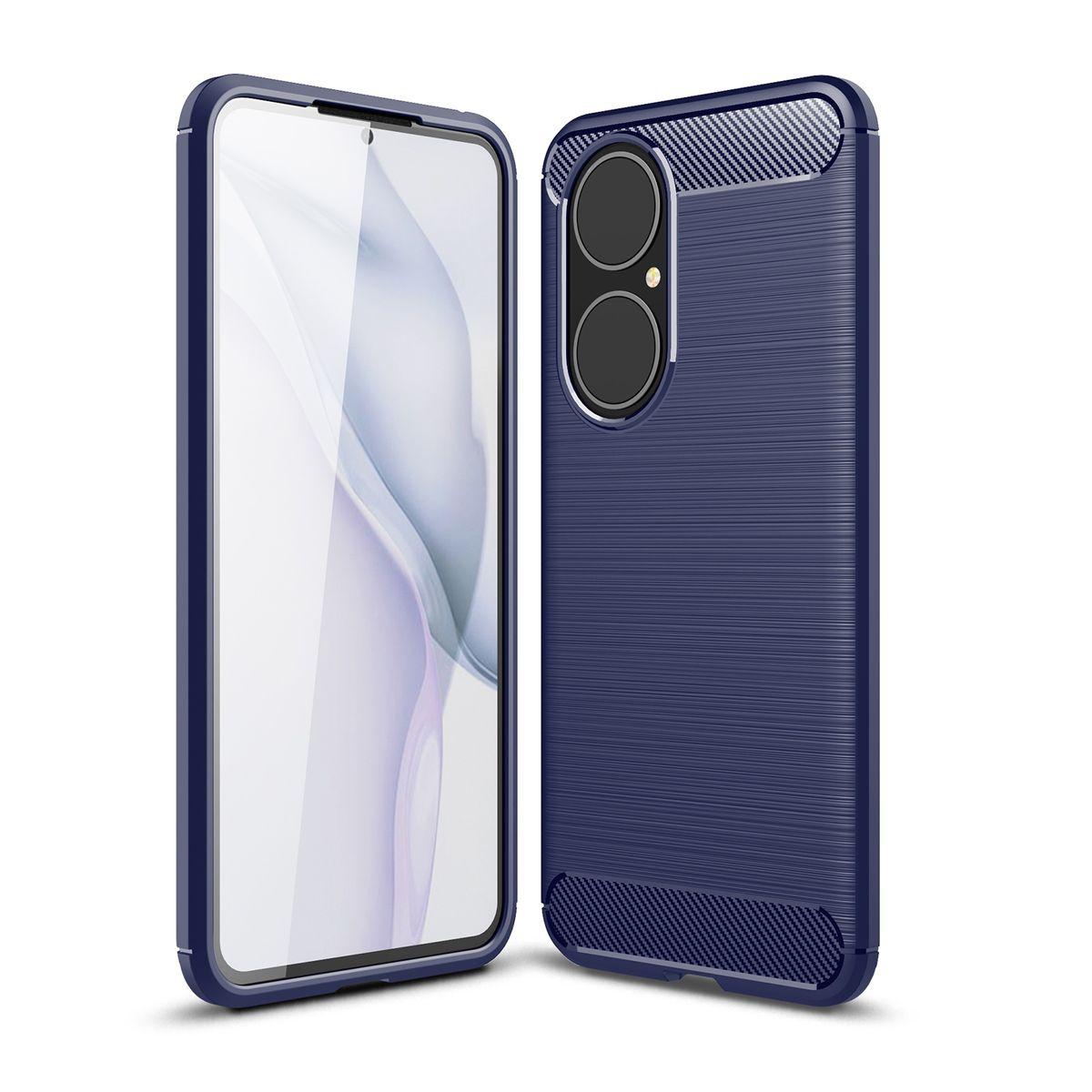 Huawei P50 TPU Case Carbon Fiber Optik Brushed Schutz Hülle Blau