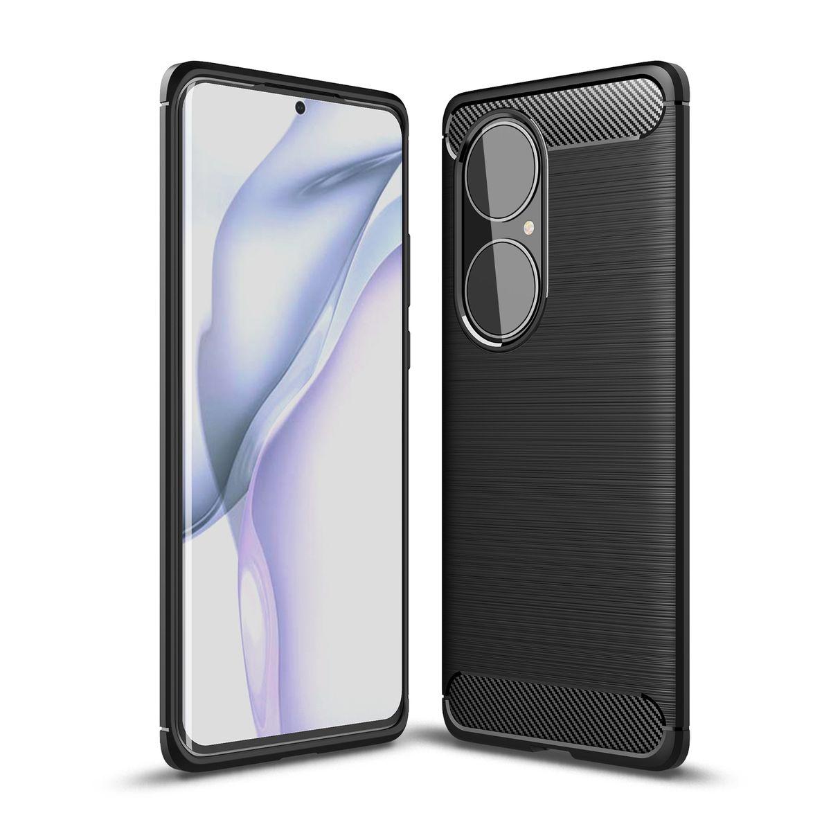 Huawei P50 Pro TPU Case Carbon Fiber Optik Brushed Schutz Hülle Schwarz
