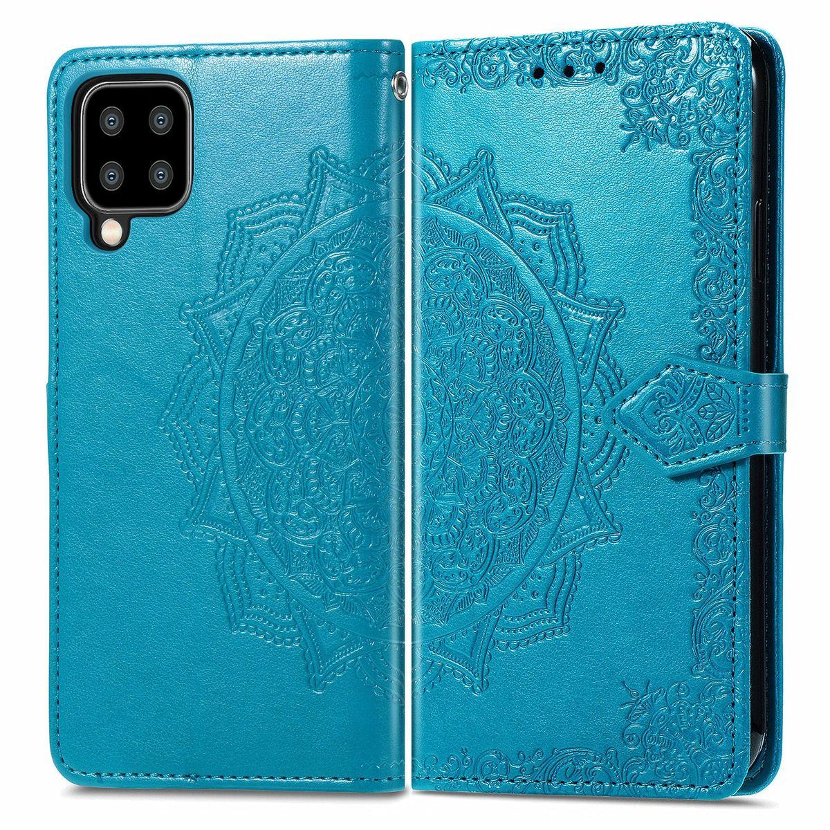 Samsung Galaxy A22 5G Tasche Handy Hülle Schutz-Cover Flip-Case mit Kartenfach Blau