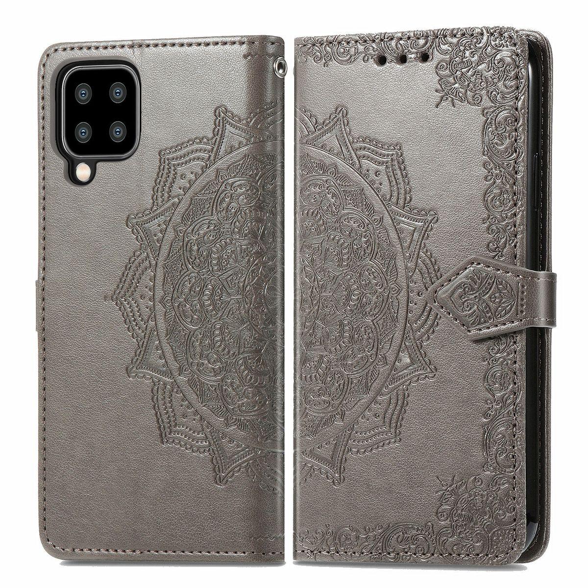 Samsung Galaxy A22 5G Tasche Handy Hülle Schutz-Cover Flip-Case mit Kartenfach Grau
