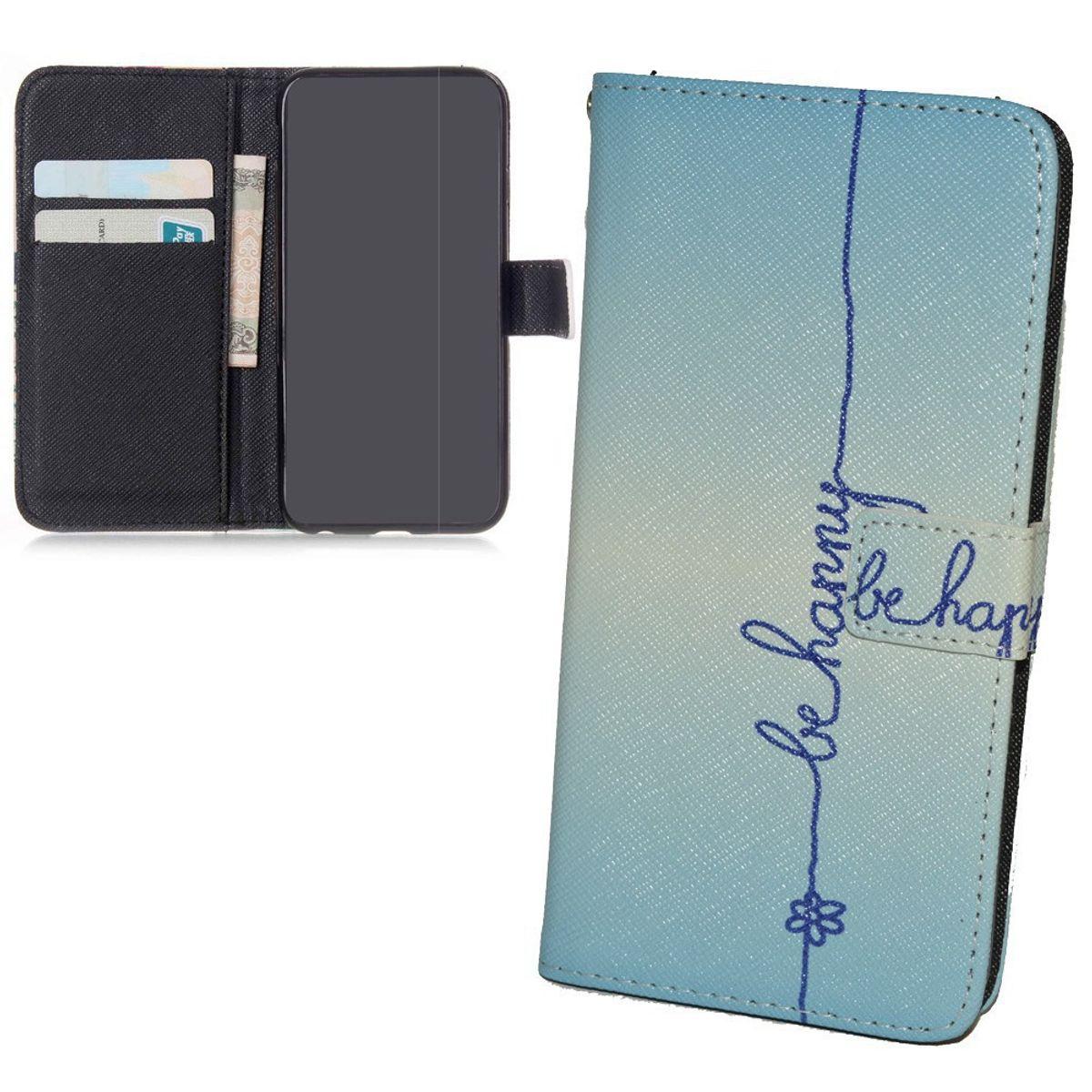 Handyhülle Tasche für Handy Asus Zenfone 6  Schriftzug Be Happy Blau