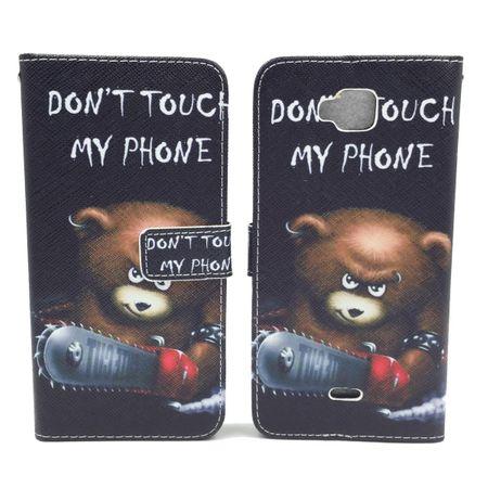 Handyhülle Tasche für Handy Wiko Slide  Schriftzug Bär mit Kettensäge – Bild 6