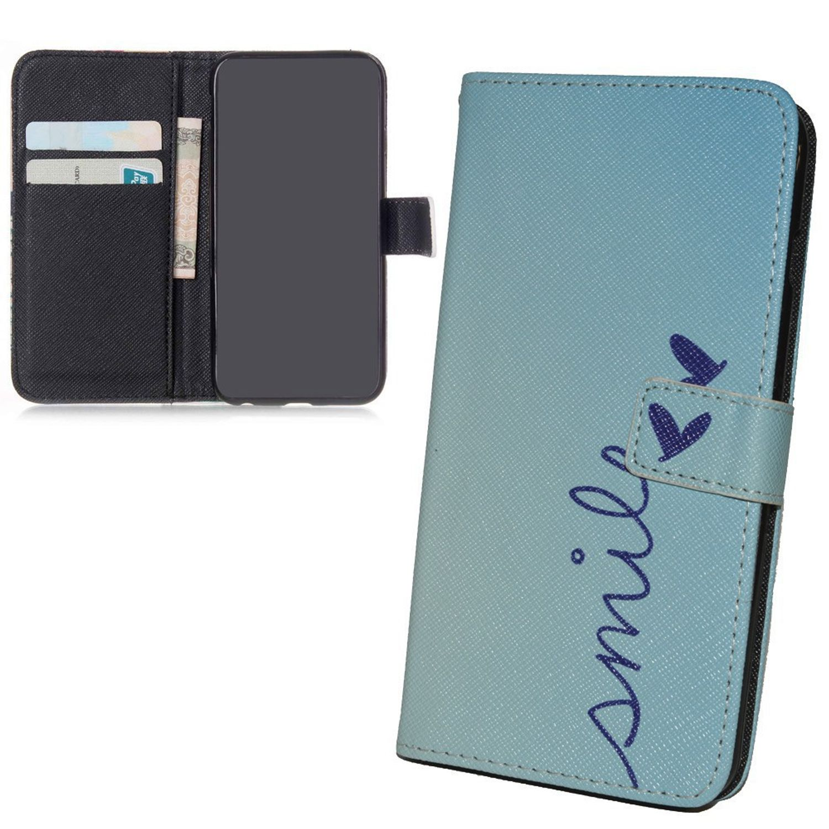 Handyhülle Tasche für Handy Wiko Slide  Schriftzug Smile Blau