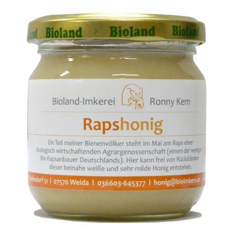 Rapshonig - Echter Deutscher Bio Bienenhonig aus Thüringen 250g Cremig Fest