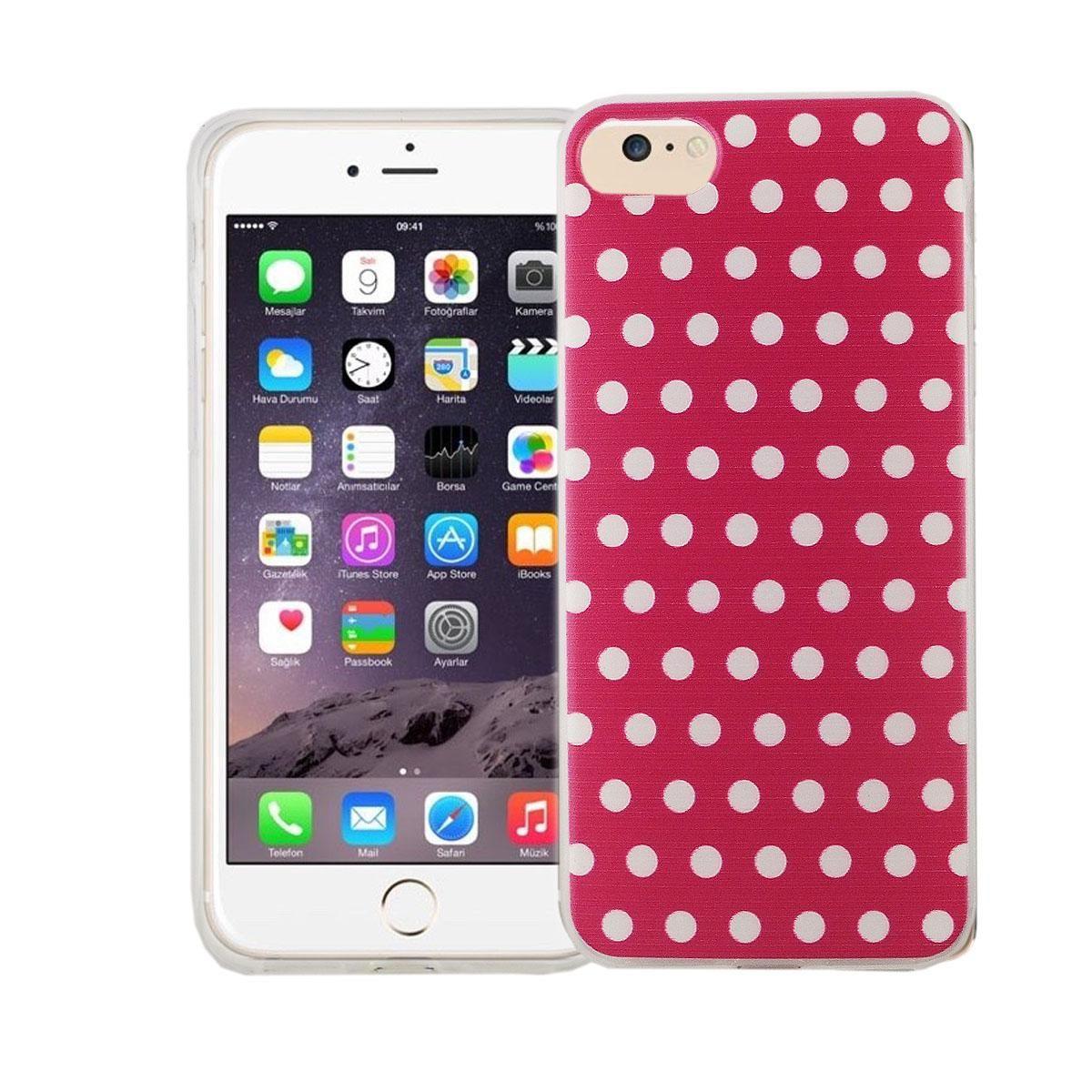 Handy Hülle für Apple iPhone 8 Cover Case Schutz Tasche Motiv Slim Silikon TPU Polka Dot Pink