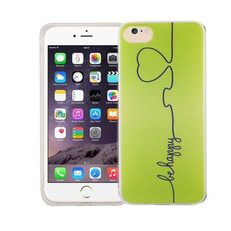 Handy Hülle für Apple iPhone 8 Cover Case Schutz Tasche Motiv Slim Silikon TPU Be Happy Grün