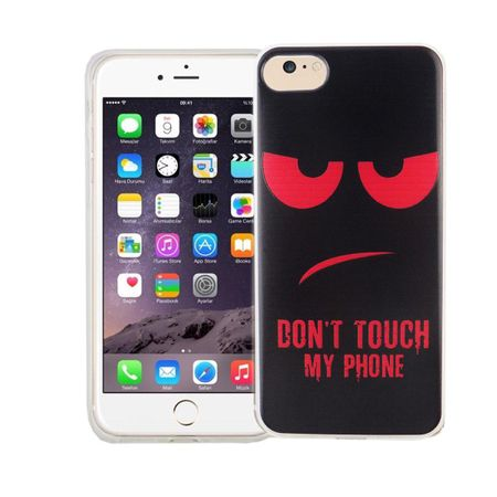Handy Hülle für Apple iPhone 8 Cover Case Schutz Tasche Motiv Slim Silikon TPU Dont Touch my Phone Rot