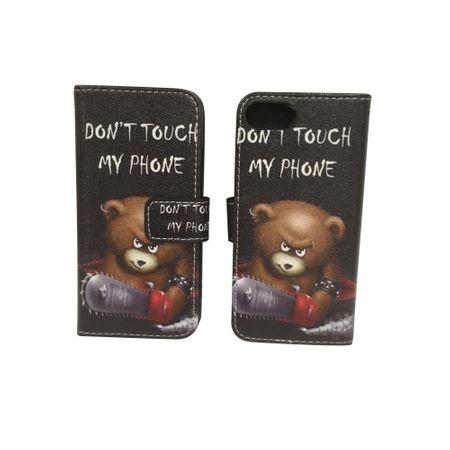 Handyhülle Tasche für Handy Apple iPhone 8 Schriftzug Bär mit Kettensäge – Bild 6