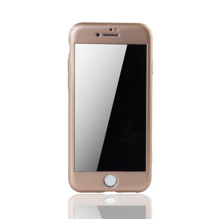 Apple iPhone 8 Handy-Hülle Schutz-Case 360 Full-Cover Panzer Schutz Glas Gold – Bild 3