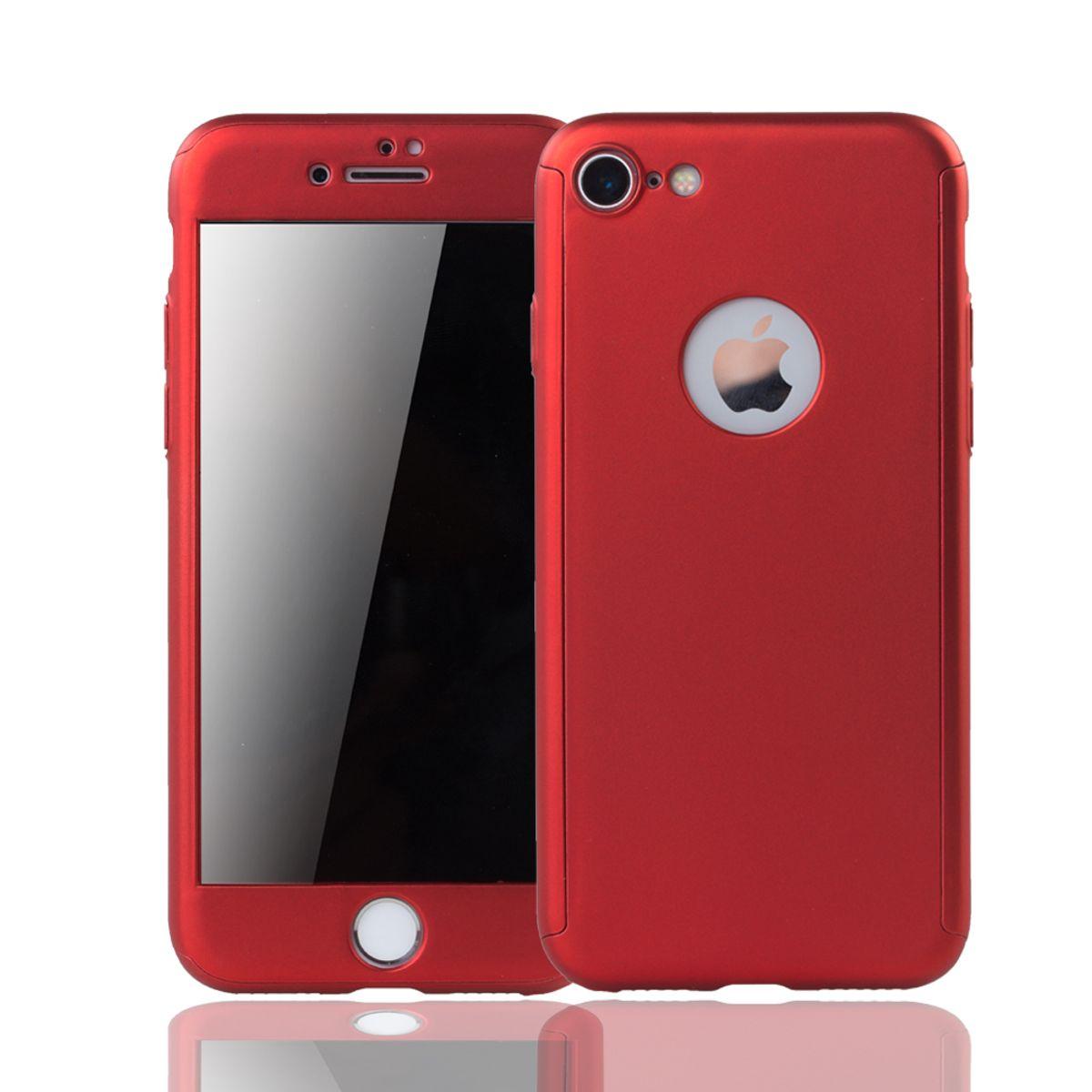 Apple iPhone 8 Handy Hülle Schutz-Case 360 Full-Cover Panzer Schutz Glas Rot