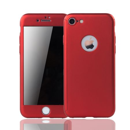 Apple iPhone 8 Handy-Hülle Schutz-Case 360 Full-Cover Panzer Schutz Glas Rot