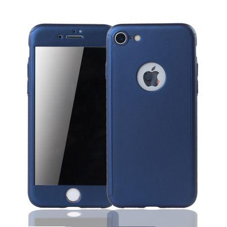 Apple iPhone 8 Handy-Hülle Schutz-Case 360 Full-Cover Panzer Schutz Glas Blau