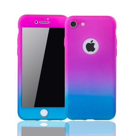 Apple iPhone 8 Handy-Hülle Schutz-Case Full-Cover Panzer Schutz Glas Pink / Blau – Bild 1