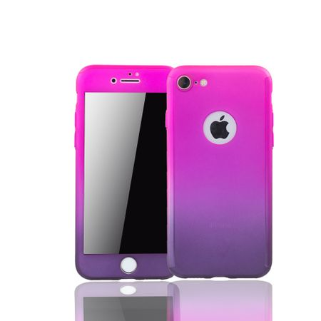 Apple iPhone 8 Handy-Hülle Schutz-Case Cover Panzer Schutz Glas Pink / Violett
