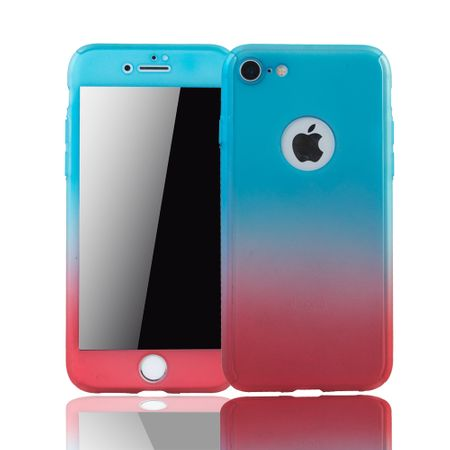 Apple iPhone 8 Handy-Hülle Schutz-Case Full-Cover Panzer Schutz Glas Blau / Rot – Bild 1