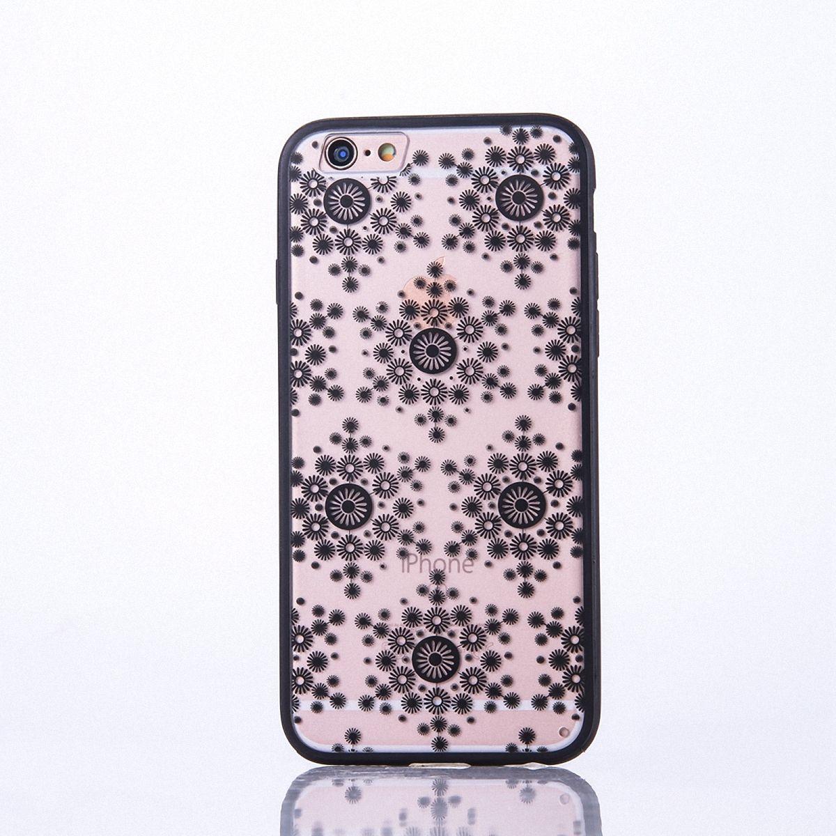 Handy Hülle Mandala für Apple iPhone 8 Design Case Schutzhülle Motiv Flocken Cover Tasche Bumper Schwarz