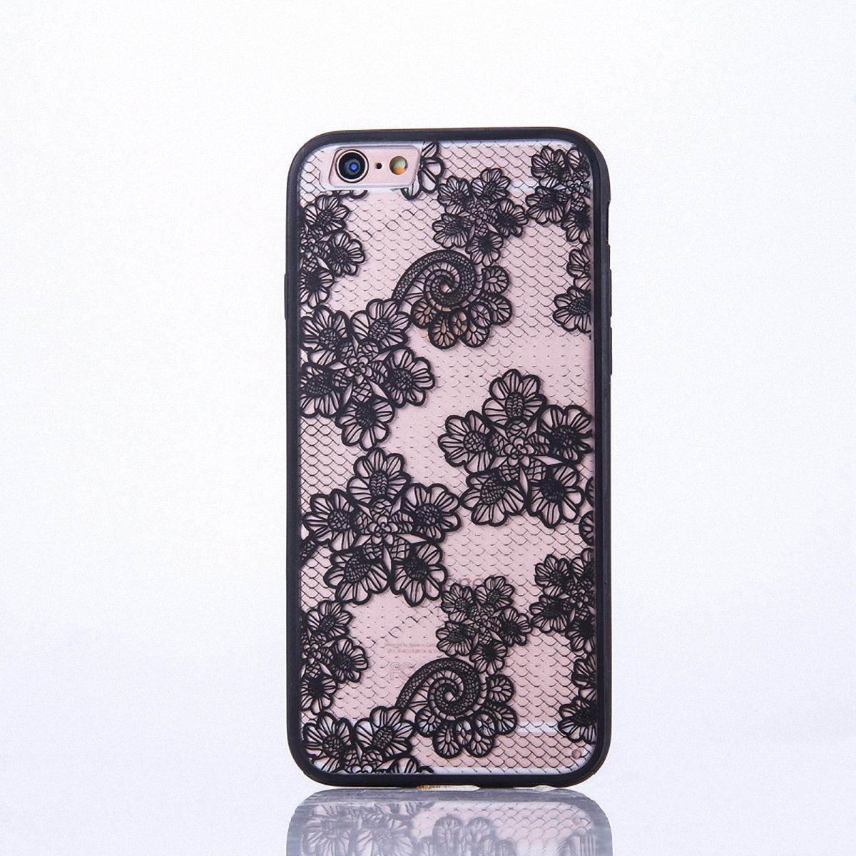 Handy Hülle Mandala für Apple iPhone 8 Design Case Schutzhülle Motiv Blüten Cover Tasche Bumper Schwarz