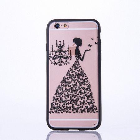 Handy Hülle Mandala für Apple iPhone 8 Design Case Schutzhülle Motiv Schmetterling Frau Cover Tasche Bumper Schwarz