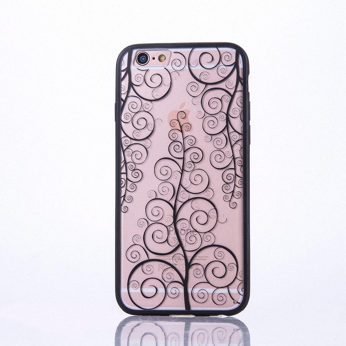 Handy Hülle Mandala für Apple iPhone 8 Design Case Schutzhülle Motiv Blume Cover Tasche Bumper Schwarz