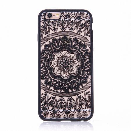 Handy Hülle Mandala für Apple iPhone 8 Design Case Schutzhülle Motiv Kreis Cover Tasche Bumper Schwarz