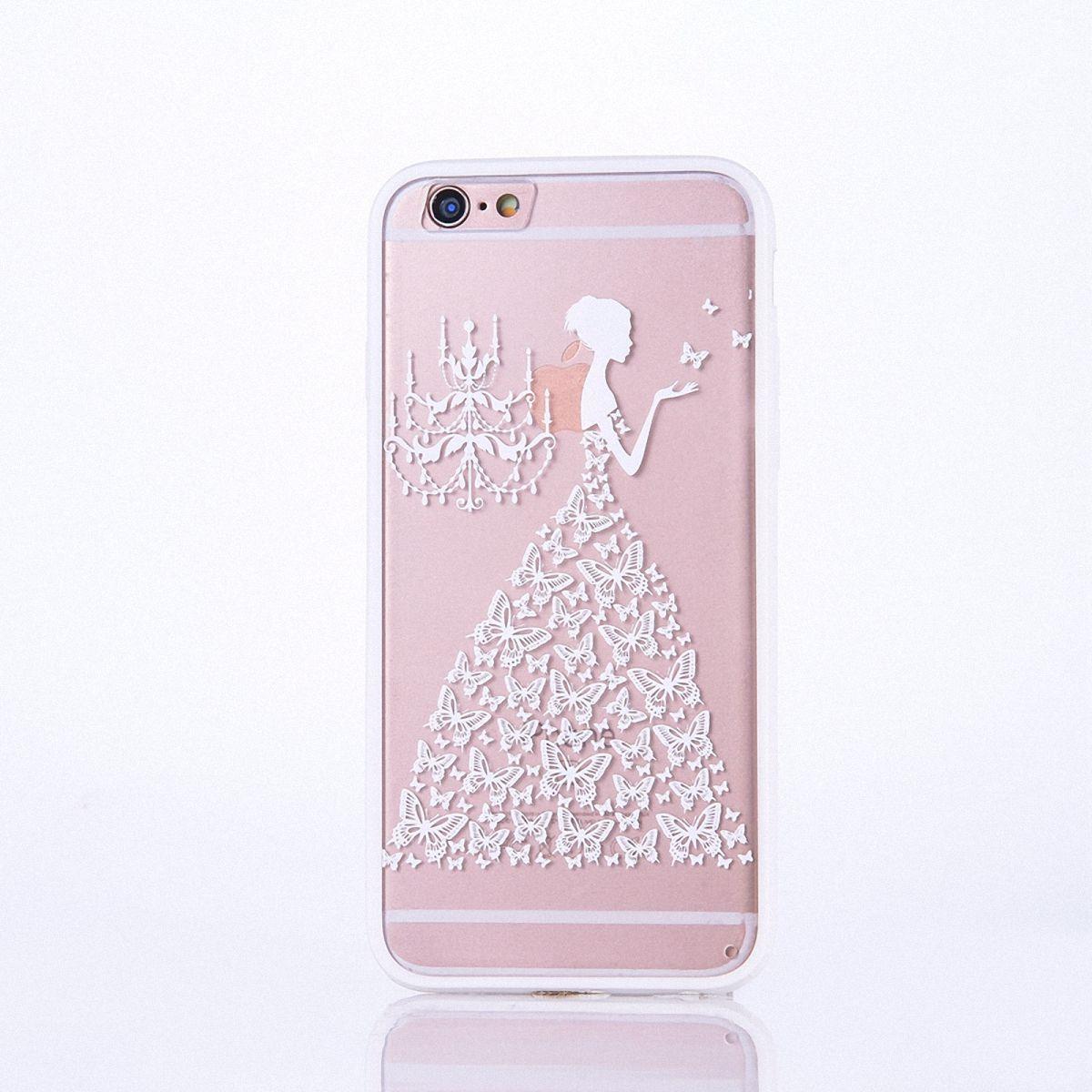 Handy Hülle Mandala für Apple iPhone 8 Design Case Schutzhülle Motiv Schmetterling Frau Cover Tasche Bumper Weiß