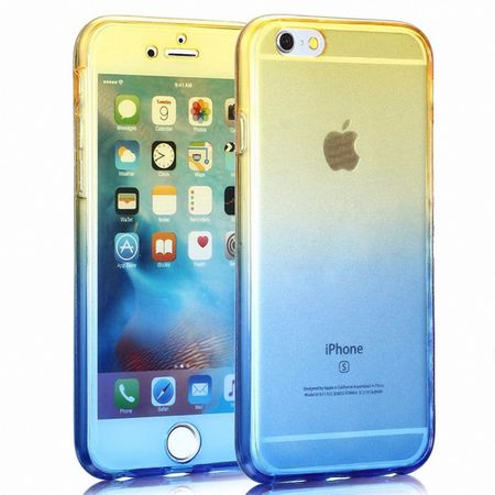 Crystal Case Hülle für Apple iPhone 8 Gelb Blau Rahmen Full Body