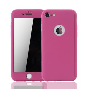 Apple iPhone 8 Handy-Hülle Schutz-Case 360 Full-Cover Panzer Schutz Glas Pink