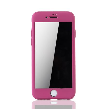 Apple iPhone 8 Handy-Hülle Schutz-Case 360 Full-Cover Panzer Schutz Glas Pink – Bild 3