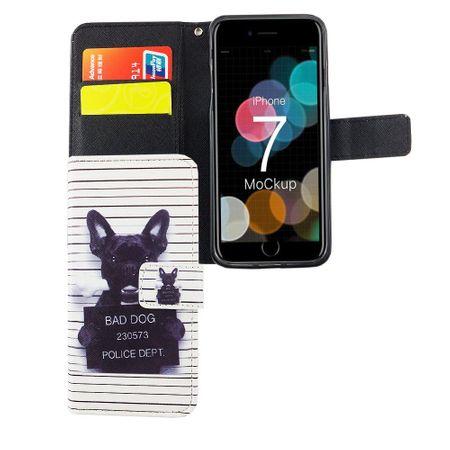 Handyhülle Tasche für Handy Apple iPhone 8 Böser Hund Weiß