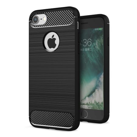 Apple iPhone 8 Cover TPU Case Silikon Schutz-Hülle Handy Bumper Carbon Optik Schwarz