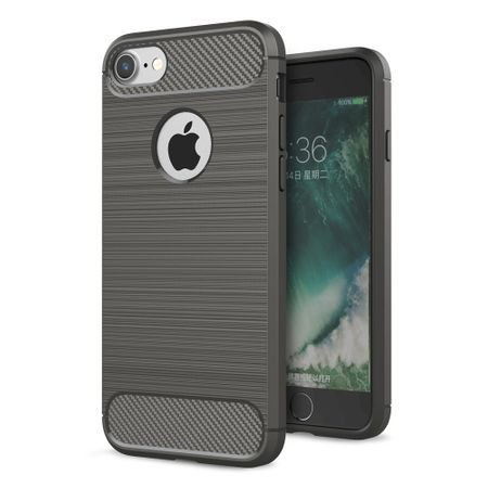 Apple iPhone 8 Cover TPU Case Silikon Schutz-Hülle Handy Bumper Carbon Optik Grau