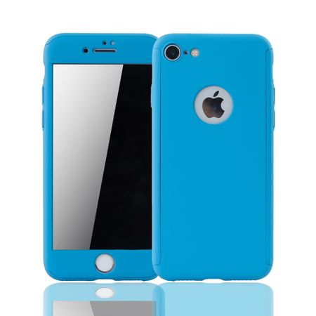 Apple iPhone 8 Handy-Hülle Schutz-Case Full-Cover Panzer Schutz Glas Hellblau