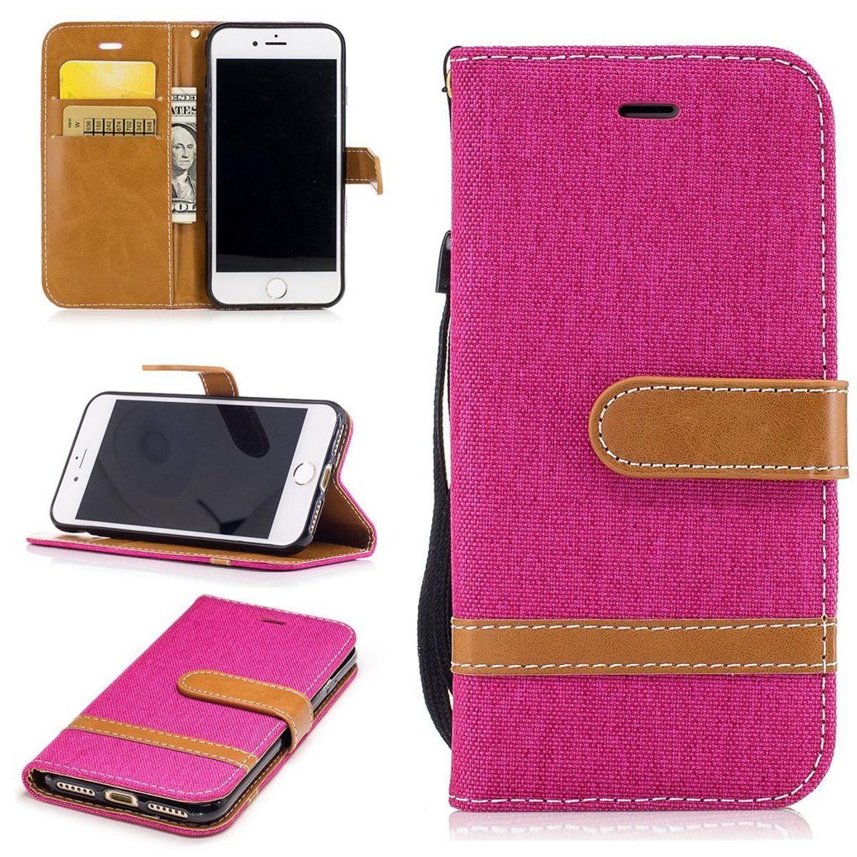 Tasche für Apple iPhone 8 Jeans Cover Handy Schutz Hülle Case Pink