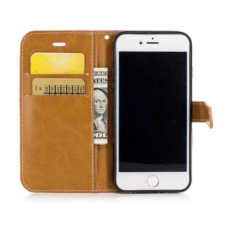 Tasche für Apple iPhone 8 Jeans Cover Handy Schutz Hülle Case Pink – Bild 2