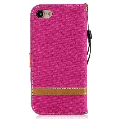 Tasche für Apple iPhone 8 Jeans Cover Handy Schutz Hülle Case Pink – Bild 5