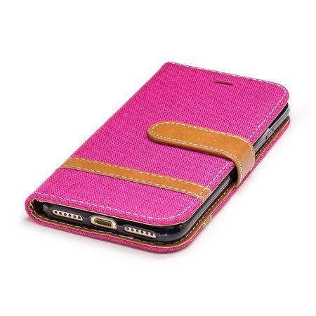 Tasche für Apple iPhone 8 Jeans Cover Handy Schutz Hülle Case Pink – Bild 7